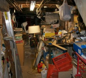 cluttered basement cleanout
